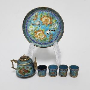 Miniature Chinese Cloisonne Teapot with Teacups